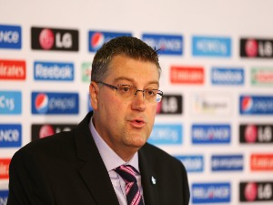 JOHN HARNDEN speaks during the ICC Cricket World Cup Ticket pricing announcement at the Sydney Cricket Ground in Sydney, Australia.