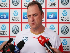 Sydney Swans AFL coach JOHN LONGMIRE speaks to the media during a press conference at SCG in Sydney, Australia.