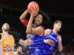 JOSH CHILDRESS of the Adelaide 36ers in action during the NBL match between the Sydney Kings and the Adelaide 36ers at Qudos Bank Arena in Sydney, Australia.