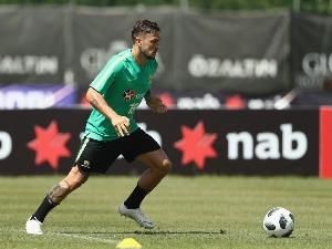 JOSH RISDON of Australia controls the ball during the Australian Socceroos Training Session at the Gloria Football Club in Antalya, Turkey.