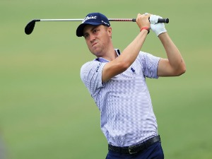 JUSTIN THOMAS of the United States plays a shot during the PLAYERS Championship on the Stadium Course at TPC Sawgrass in Ponte Vedra Beach, Florida.