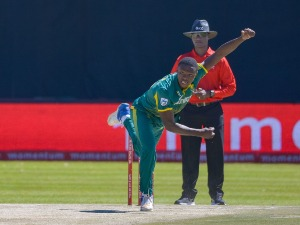 KAGISO RABADA of South Africa during the 1st Momentum ODI match between South Africa and Bangladesh at Diamond Oval in Kimberley, South Africa.