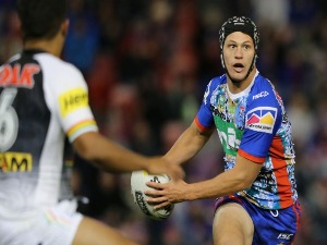 KALYN PONGA of the Knights in action during the NRL match between the Newcastle Knights and the Penrith Panthers at McDonald Jones Stadium in Newcastle, Australia.