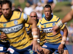 KANE EVANS of the Eels warms up prior to the NRL match between the Manly Sea Eagles and the Parramatta Eels at Lottoland in Sydney, Australia.