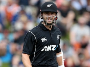 KANE WILLIAMSON of New Zealand looks on during the third game of the One Day International Series between New Zealand and Pakistan at University of Otago Oval in Dunedin, New Zealand.