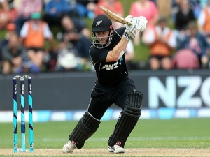 KANE WILLIAMSON of New Zealand bats during the third game of the One Day International Series between New Zealand and Pakistan at University of Otago Oval in Dunedin, New Zealand.