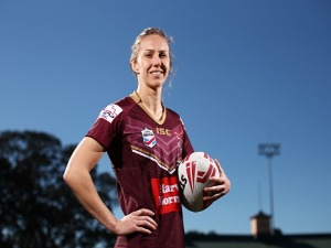 KARINA BROWN of Queensland poses during a Women's State of Origin media opportunity at North Sydney Oval in Sydney, Australia.