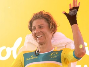 KATRIN GARFOOT of Australia celebrates after winning the gold medal during the Cycling Time Trial on day six of the Gold Coast 2018 Commonwealth Games at Currumbin Beachfront in the Gold Coast, Australia.