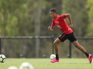 KEANU BACCUS in action during a Western Sydney Wanderers A-League training session at Blacktown International Sportspark in Sydney, Australia.