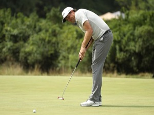 KEEGAN BRADLEY of the US putts on the 17th green during the second round of the BMW Championship at Aronimink Golf Club in Newtown Square, Pennsylvania.