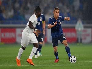 KEISUKE HONDA of Japan in action during the international friendly match between Japan and Ghana at Nissan Stadium in Yokohama, Kanagawa, Japan.