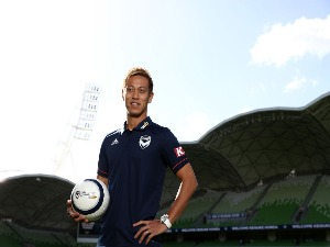 KEISUKE HONDA of the Victory poses for the media at a Melbourne Victory A-League press conference at AAMI Park in Melbourne, Australia.