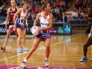 KELSEY BROWNE of the Lightning controls the ball during the Super Netball match between the Thunderbirds and the Lightning at PS in Adelaide, Australia.