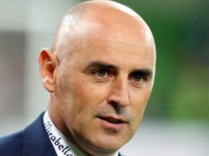 Melbourne Victory coach KEVIN MUSCAT looks on during the A-League match Melbourne Victory and Brisbane Roar at AAMI Park in Melbourne, Australia.