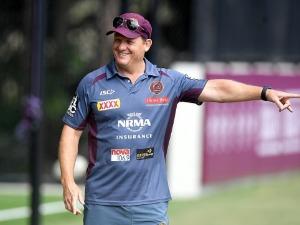 Coach KEVIN WALTERS gives directions during the Brisbane Broncos NRL training session in Brisbane, Australia.
