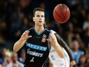 KIRK PENNEY of the Breakers in action during the NBL match between the New Zealand Breakers and the Adelaide 36ers at Spark Arena in Auckland, New Zealand.