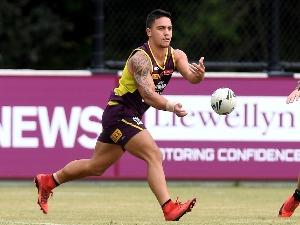KODI NIKORIMA passes the ball during the Brisbane Broncos NRL training session in Brisbane, Australia.