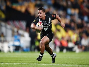 KODI NIKORIMA of the Kiwis in action during the 2017 Rugby League World Cup match between the New Zealand Kiwis and Samoa at Mt Smart Stadium in Auckland, New Zealand.