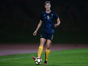 LAURA ALLEWAY of Australia in action during the Women's Algarve Cup Tournament match between Australia and China at Estadio Municipal de Albufeira in Albufeira, Portugal.