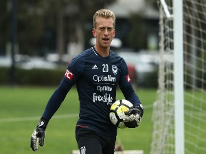Victory goalkeeper LAWRENCE THOMAS looks on during a Melbourne Victory A-League training session at Gosch's Paddock in Melbourne, Australia.