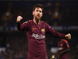 LIONEL MESSI of Barcelona celebrates his equaliser during the UEFA Champions League match between Chelsea FC and FC Barcelona at Stamford Bridge in London, United Kingdom.
