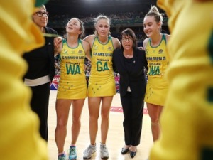 Australian coach LISA ALEXANDER talks to players in a huddle after victory in the 2017 Constellation Cup match between the Australian Diamonds and the New Zealand Silver Ferns at Qudos Bank Arena in Sydney, Australia.