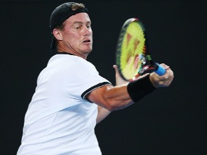 LLEYTON HEWITT of Australia hits a forehand during the Tie Break Tens ahead of the 2018 Australian Open at Margaret Court Arena in Melbourne, Australia.