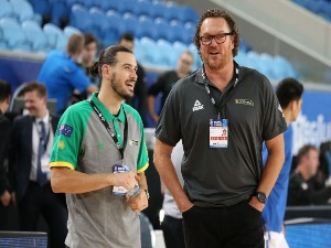 Chris Goulding and assistant coach LUC LONGLEY look on during the FIBA World Cup Qualifier match between the Australian Boomers and the Philippines at Margaret Court Arena on February 22, 2018 in Melbourne, Australia.