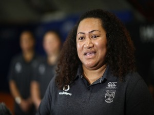 Head coach LUISA AVAIKI speaks during a New Zealand Warriors Women's Squad Media Opportunity in Auckland, New Zealand.