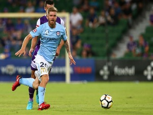 LUKE BRATTAN of Melbourne passes the ball during the A-League match between the Perth Glory and Melbourne City FC at nib Stadium in Perth, Australia.