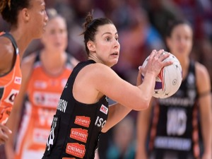 MADI ROBINSON of the Magpies looks to pass the ball during the Super Netball match between the Giants and the Magpies at Qudos Bank Arena in Sydney, Australia.