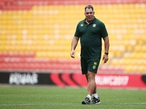 Australia coach MAL MENINGA looks on during an Australian Kangaroos training session at SS in Brisbane, Australia.