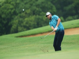 MARC LEISHMAN of Australia plays a shot during the final round of the Sentry Tournament of Champions at Plantation Course in Lahaina, Hawaii.