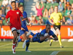 MARCEL BRACHE of the Force crosses for a try during the World Series Rugby match between the Force and Tonga at nib Stadium in Perth, Australia.