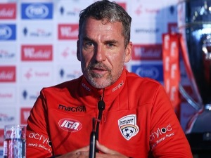 Adelaide United head coach MARCO KURZ speaks to the media during a press conference at Allianz Stadium in Sydney, Australia.