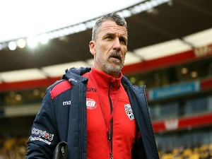 Coach MARCO KURZ of Adelaide United looks on during the A-League match between Wellington Phoenix and Adelaide United at Westpac Stadium in Wellington, New Zealand.