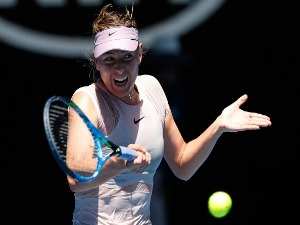 MARIA SHARAPOVA of Russia plays a forehand in her match against Anastasija Sevastova of Latvia of the 2018 Australian Open at Melbourne Park in Australia.