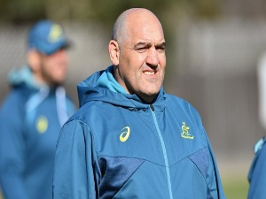 Forwards coach MARIO LEDESMA looks on during an Australian Wallabies training session at Linwood Rugby Club in Christchurch, New Zealand.