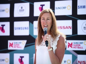 Netball Australia CEO MARNE FECHNER speaks during the Suncorp Super Netball season launch in Sydney, Australia