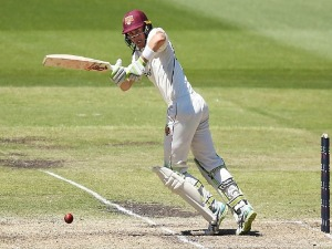 MARNUS LABUSCHAGNE of Quennsland bats during the Sheffield Shield match between Victoria and Queensland at MCG in Melbourne, Australia.