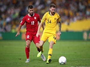 MARTIN BOYLE of Australia contests the ball during the International Friendly Match between the Australian Socceroos and Lebanon at ANZ Stadium in Sydney, Australia.