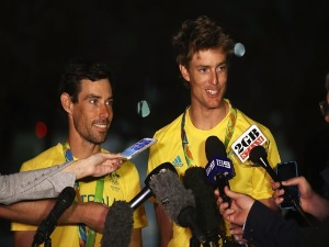 MATHEW BELCHER of Australia and WILL RYAN of Australia are interviewed after winning the silver medal in the Men's 470 class at the Marina da Gloria on Day 13 of the 2016 Rio Olympic Games in Rio de Janeiro, Brazil.