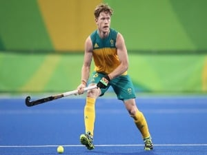 MATTHEW DAWSON Australia looks to pass during the men's pool A match between Australia and Spain on Day 2 of the Rio 2016 Olympic Games at the Olympic Hockey Centre in Rio de Janeiro, Brazil.