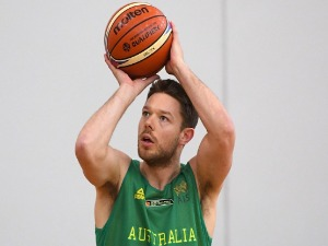 MATTEW DELLAVEDOVA of the Boomers shoots during an Australian Boomers training session at Melbourne Sports and Aquatic Centre in Melbourne, Australia.