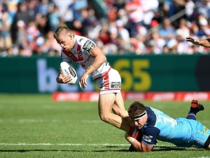 MATTHEW DUFTY of the Dragons takes on the defence during the NRL match between the Gold Coast Titans and the St George Illawarra Dragons at Clive Berghofer Stadium in Toowoomba, Australia.