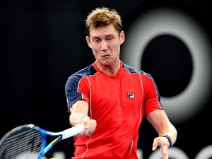 MATTHEW EBDEN of Australia plays a forehand in his match against Frances Tiafoe of the USA during the Brisbane International at Pat Rafter Arena in Brisbane, Australia.