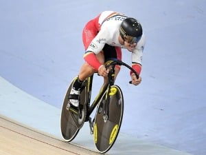 MATTHEW GLAETZER of South Australia competes in the men's sprint gold final during the Australian Track National Championships at Anna Meares Velodrome in Brisbane, Australia.