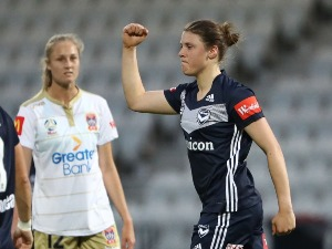 MELINA AYRES of the Victory celebrates after scoring a goal during match between Melbourne Victory and Newcastle Jets at Lakeside Stadium in Melbourne, Australia.