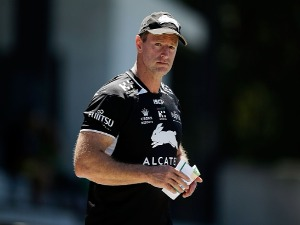Rabbitohs coach MICHAEL MAGUIRE looks on during a South Sydney Rabbitohs NRL training session at Redfern Oval in Sydney, Australia.