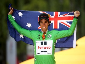 MICHAEL MATTHEWS of Australia riding for Team Sunweb celebrates on the podium after winning the green points jersey of the 2017 Le Tour de France in Paris, France.